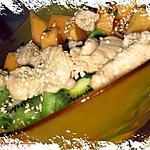recette Salade  de poulet aux kiwis et melon