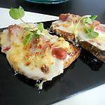 recette Tartine gratiné béchamel saucisse de strasbourg enlardé