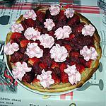 recette tarte fraises et framboises , crème patissière spéculoos.