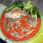 recette Cuisse de lapin, carottes et champignons à la crème