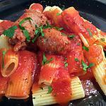 recette rigatonis en sauce rouge et saucisse italienne