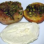 recette Pêches rôties en crumble de pistaches