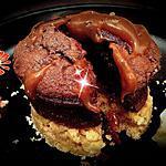 recette fondant au chocolat et son coeur de caramel, croquant de spritz