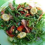 recette Salade de Roquette aux Poivrons marinés, au Bacon et ses Tuiles de parmesan