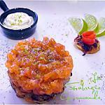 recette Tartare de Saumon à l'Aneth sur Rösti Crème de Citron Vert