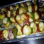 recette Brochettes de soupion aux poivrons et chorizo