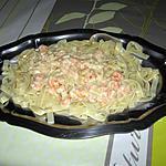 recette Tagliatelles, sauce au pommeau, crevettes et fromage