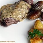 recette Bavette d'aloyau sauce au poivre vert et échalotes confites