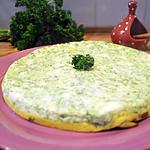 recette Omelette deux étages, persillée et aux pleurotes.