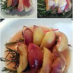 recette Brochettes de pêches de vigne rôties