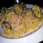 recette Spaghettis à la créme de chorizo et moules