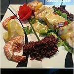 recette Brochettes de poissons, sauce curry et riz rouge