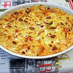 recette gratin de pommes de terre chorizo, lamelles de jambon fumés, cammembert.
