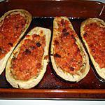 recette Aubergines farcies chorizo/jambon cru/tomates