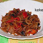 recette Fondue d'oignon à l'ail des ours et aux poivrons