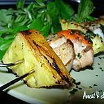 recette *Brochettes Grillées Salées-Sucrées ; Noix de saint Jacques, Ananas frais & abricot secs**