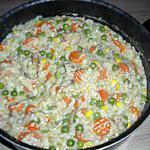 recette poêlé de légumes, riz et sa sauce crème fraîche et fond de volaille accompagné de filets de poulets roulés dans la chapelure