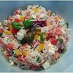 recette Salade de riz, feta, tomate, poivron et olives