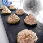 recette Petites bouchées  apéritives concombre, crème de surimi
