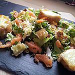 recette Salade de ravioles au saumon fumé et ses croutons de mozzarella chaude