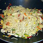 Wok légumes, pâtes et poulet