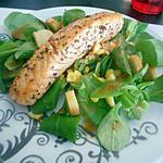 recette Salade au pavé de saumon de mon cheri