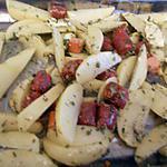recette Pommes de terre rôtis au merguez et saucisses de strasbourg
