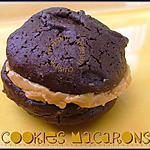 recette Cookie/macaron au chocolat noir & beurre de cacahuètes