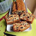 recette CAKE aux olives noires , basilic ,tomates séchés .