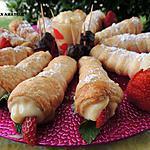 recette Cornet garni de crème + fraises