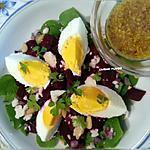 recette Salade de Pourpier, betterave rouge, oeuf, fromage ... à la vinaigrette