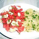 recette SALADE PASTEQUE CROTTIN DE CHEVRE ET CONCOMBRES