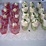 recette verrines de tomates , allumettes de jambon  et verrine de concombre et mousse au boursin