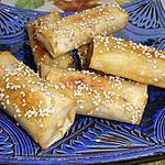 recette CIGARES au miel,pâte d'amande et sésame