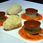 recette Gâteau de foie de volaille, quenelles de volaille et sauce tomate