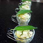 recette Verrines pommes vertes,dés de foie gras et sa gelée Monbazillac -abricots secs**