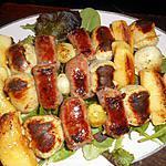recette Brochette de saucisse de toulouse et boudin blanc