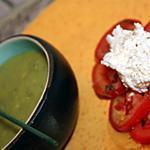 recette Velouté de courgettes, salade de tomates et chèvre frais