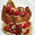 recette Entrecôtes de veau panée, sauce aux tomates cerise confites et coquillettes