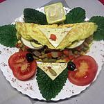 recette Omelettes composées de légumes.œufs.râpé.