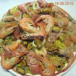 recette Boulgour aux crustacés.saumon rose.safranés.