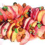 recette BROCHETTES DE FRUITS FRAIS AUX FRUITS SECS ET MIEL