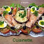 recette saumon rose de crudités et crustacés.