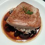 recette Thon grillé, sur son bouillon de poivrons et riz basmati