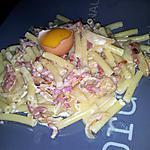 recette Macaronis carbonara à la mozzarella