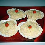 coquilles au thon et quenelles de saumon