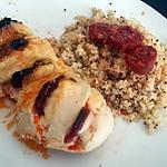 recette Blancs de dinde fourrés chorizo emmental sauce au parmesan basilic