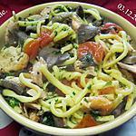 recette Pâtes Spaetzle au saumon et champignons.
