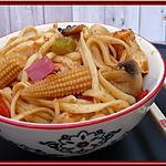 recette Wok de nouilles au poulet