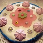 recette Gâteau compote de rhubarbe.fleuri. sans cuisson.